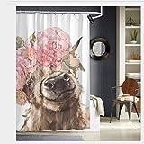 Nonebrand - Cortina de ducha con diseño de vaca de las tierras altas con corona de flores, tela de poliéster, lavable a máquina, 152 x 183 cm