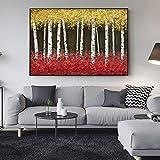 SADHAF Árbol abstracto Pintura al óleo Color claro Paisaje Arte de la pared Impresión de la lona Decoración mural A4 60x80cm