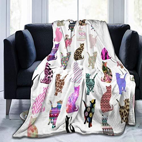 Bernice Winifred Manta de Microfibra Ultra Suave con diseño de Gatos Florales Femeninos de Moda Lindo Moderno Hecho de Franela Anti-Pilling, más cómoda y cálida.60 x 50