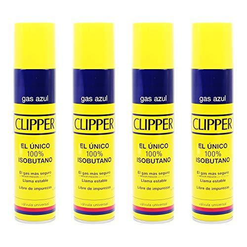 Clipper Gas Azul Isobutano 300 ml x 4 uds
