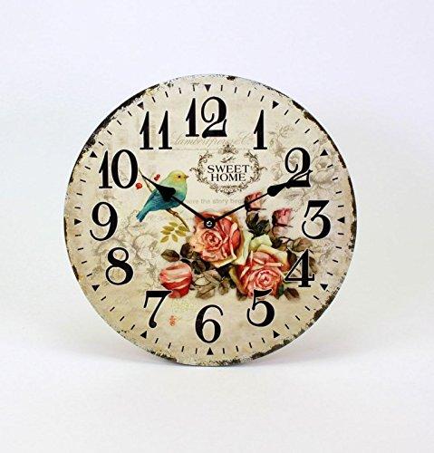 Wanduhr 'Sweet Home' mit Rosendekor und Vogel 34 cm Durchmesser Romantik- Look