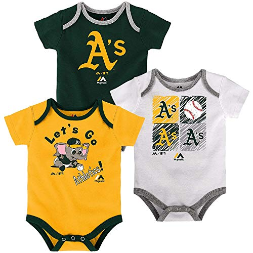 Outerstuff MLB Newborn (0M-9M) Infant (12M-24M) Go Team 3-Pack Creeper Set, Oakland Athletics, 18 Months