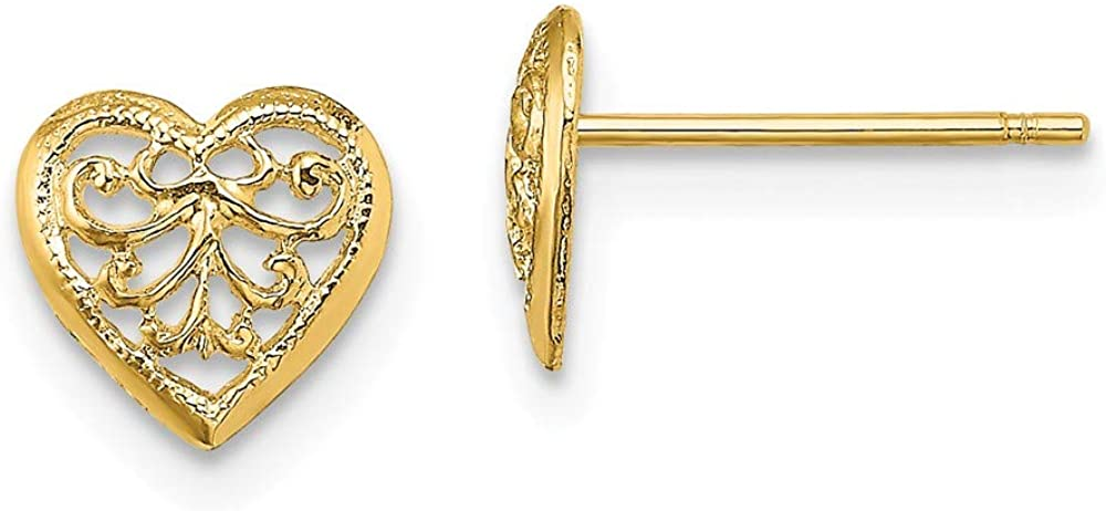 14k Yellow Gold Filigree Heart Post Stud Earrings Ball Button Love Fine Jewelry For Women Gifts For Her