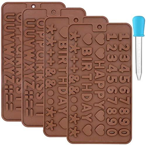 Juego de 4 moldes de silicona para letras de chocolate y números con cuentagotas de plástico para hacer jabón, decoración de pasteles de dulces bricolaje para hornear alfabeto símbolo de feliz