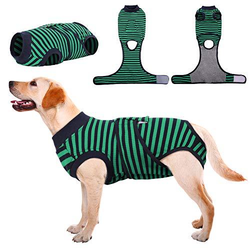 Kuoser Gestreifter Erholungsanzug für Hunde Katzen nach der Operation, Schutz vor Wund-/Hautkrankheiten bei Katzen, Weich & Atmungsaktiv, E-Halsband-Alternative für Haustiere