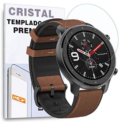 REY Protector de Pantalla para XIAOMI AMAZFIT GTR 42mm, Cristal Vidrio Templado Premium