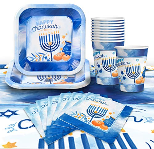 Hanukkah Plates And Napkins Set - Hanukkah Party Set - 7' And 9' Plates, Cups, Napkins and Tablecloth - Serves 8