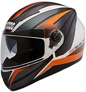 STUDDS. Shifter D2 Glossy White Orange with Mirror Visor Xl Helmet