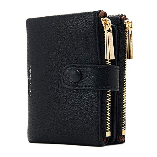 Damen Geldbeutel,PU Leder Portemonnaie Kleine Brieftasche Geldbörse Für Frauen (Schwarz)