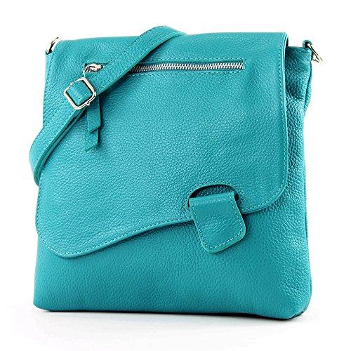 modamoda de - T146 - ital Messengertasche Umhängetasche aus Leder, Farbe:Türkis_1