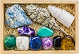 Crystalya Premium Grade Crystals and Healing Stones for Relaxation, Stress, Anxiety Relief, Sleep in Wooden Box - Amethyst, Lepidolite, Fluorite, Smoky Quartz Gemstones, Selenite, Sage Smudge Stick