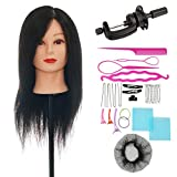 "VigorIA Salon 100% 20"" REAL HUMAN HAIR Mannequin head Practice Training Head Cosmetology"