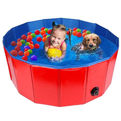 HALOVIE Piscina Perros y Gatos, Piscina Bañera Plegable Piscina para Niños Piscina de Baño PVC Antideslizante Resistente al Desgaste Drenaje Lateral Natacion Mascotas para Interior Exterior