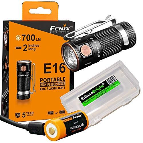 Fenix E16 700 Lumen CREE LED EDC/keychain Flashlight, Fenix ARB-L16-700U USB rechargeable battery and EdisonBright battery carry case bundle