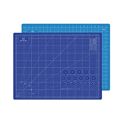 Quanerba Tappetino da Taglio - 60x45 cm (A2) - Cutting Mat - Reticolo e marcature su Entrambi i Lati per Tagli Professionali - PVC a 5 Strati riciclabile (A2 Blu)