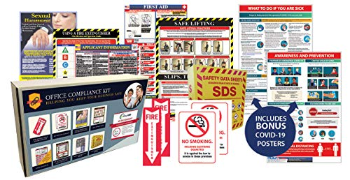 The Essential Office Compliance Kit - 9 Posters, a 3' SDS Binder, and 2 extra CoronaVirus Guidelines Posters