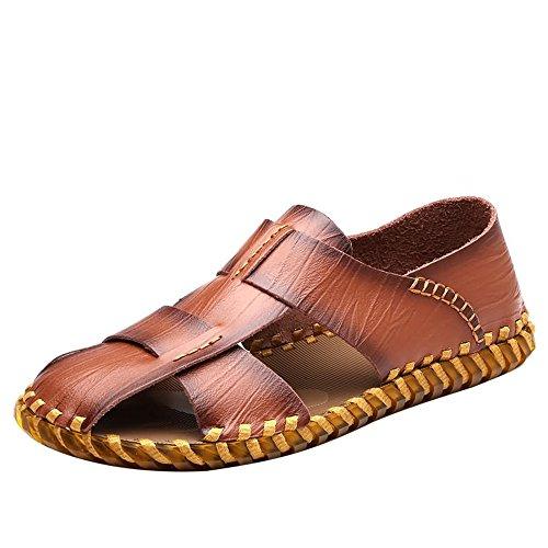 Ys-s Moda Sandalias para Hombre Zapatos de Playa Resistentes al Desgaste de la Vaca Cómodo y Ligero (Color : Brown, Size : 40 EU)