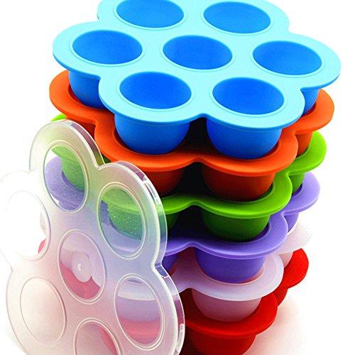 4AHero-Innovations Aufbewahrung Babynahrung – Babybrei-aufbewahrung-Gefrierform zum Einfrieren von selbst gemachter Babykost/Babynahrung - Behälter aus Silikon mit robustem Deckel - 7x75 ml, ideale Portionsgröße - BPA-frei & FDA zugelasse. Perfekte Aufbewahrung babybrei