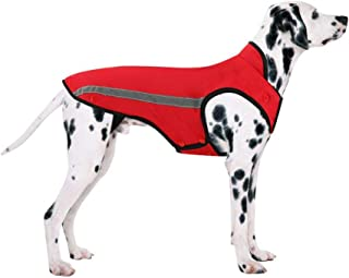 SlowTon Dog Jacket, Winter Dog Coat Waterproof Windproof Warm Adjustable Pet Vest Reflective Snowsuit Detachable Flannel Lined Jackets Cold Weather Clothes for Small Medium Large Dogs