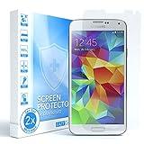 EAZY CASE 2X Panzerglas Bildschirmschutz 9H Festigkeit kompatibel mit Samsung Galaxy S5 / S5 Neo, nur 0,3 mm dick I Schutzglas aus gehärteter 2,5D Panzerglasfolie, Bildschirmschutzglas, Transparent/Kristallklar