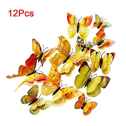 YANGMAN-ART 12PCS Papillon Stickers muraux Jaune Papillons 3D Stickers muraux Amovibles Mural pour Accueil Chambre Enfants Chambre Salon Décor Chambre