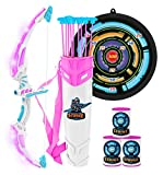 JOYIN White Bow and Arrow Archery Toy Set with Flashing LED Lights for Kids, Light Up Archery Play Set with Luminous Bow, 9 Suction Cups Arrows, Targets, and Quiver