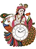Art Angels Wooden Antique Lord Krishna with Peacock Designer Wall Clock (12 x 16.5 inch, Multicolour)