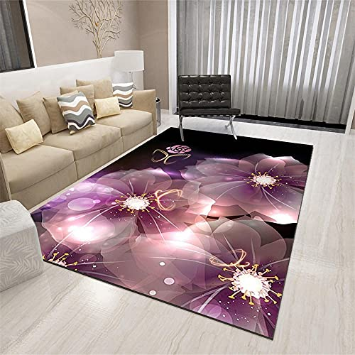 La alfombras alfombras de Dormitorio Alfombra del sofá de la Sala de Estar con Estampado Floral de Graffiti Abstracto púrpura Negro alfombras de Salon alfombras Pelo Corto 200*300cm