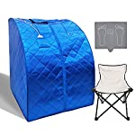 Smartmak Far Infrared Sauna X-Large, One Person Full Body at Home Weight Loss Oversized SPA Box with Upgraded Foot Pad and Reinforced Portable Chair- Blue