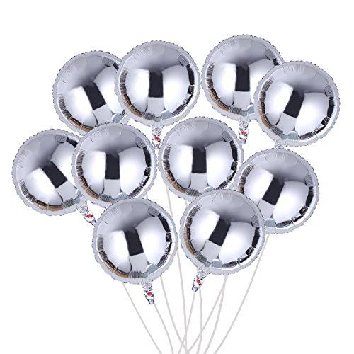Toyvian 18 Inch Balloon Sliver Round Foil Party Decoration (10pcs)