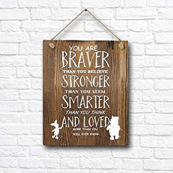 Classic Winnie The Pooh Quotes and Saying Rustic Wood Wall Art Decor- 8 x10  Wooden Hanging Art - Motivational Inspirational Classroom Office Child/Boy/Girl/Nursery Room Decor