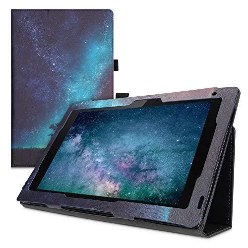 kwmobile Custodia Compatibile con Sony Xperia Tablet Z2 - Cover Tablet con Supporto - Copertina in Pelle PU Smart Case con Stand - Natura e Spazio Blu/Grigio/Nero