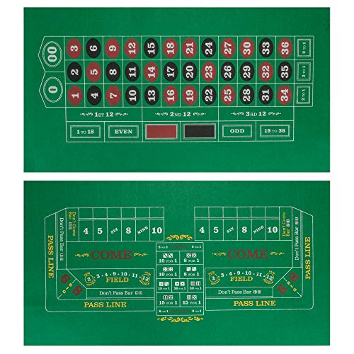 Double-Sided Craps Table & Roulette Casino Felt | Convenient, Space-Saving 36