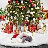 Falda de peluche Rechoo para el árbol de Navidad, falda redonda de 79cm para la decoración de Navidad, color blanco