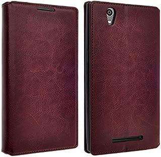 Galaxy Wireless Compatible for ZTE Lever LTE Case, ZTE Z936L Case, ZTE Z936C Case- Magnetic Leather Folio Flip Wallet Pouch Case Cover Kickstand (Brown Slim Wallet)