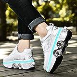 Zapatos con Ruedas Zapatillas, LED Ajustables Patines De Cuatro Ruedas, Zapatos Deportivos Intermitentes para Adultos con Carga USB, 7 Colores Que Cambian Las Zapatillas,White-36