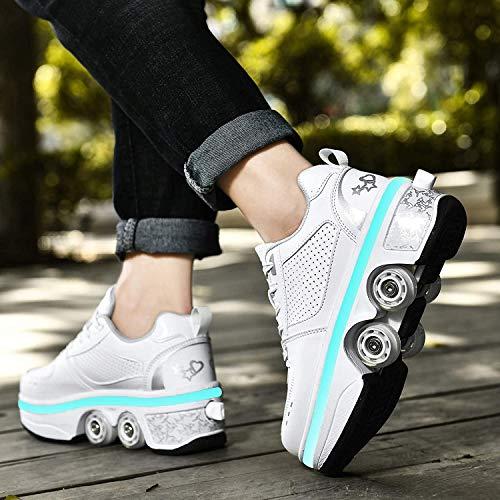 Zapatos con Ruedas Zapatillas, LED Ajustables Patines De Cuatro Ruedas, Zapatos Deportivos Intermitentes para Adultos con Carga USB, 7 Colores Que Cambian Las Zapatillas,White-39