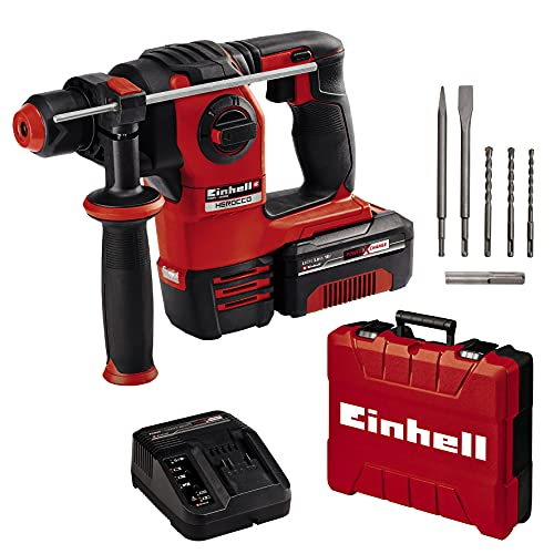 Einhell Akku-Bohrhammer HEROCCO Kit + 5 Power X-Change (Li-Ion, 18V, 2.2 Joule, 18 Nm, Brushless, pneumatisches Schlagwerk, SDS+, inkl. E-Box, Bit-Adapter, 3 Bohrer, 2 Meißel, 3 Ah Akku und Ladegerät)