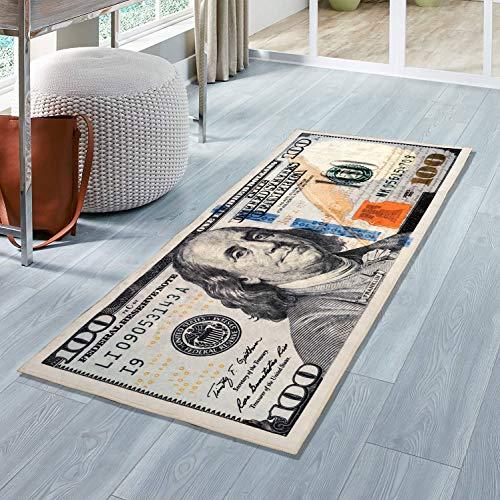 Siela Euro,Dollar Bill Waschbar In Der Waschmaschine, Teppichläufer, Teppich Brücke Küche, Flur, Küchenteppich Waschbar, Modern rutschfest Küchenläufer (Dollar, 55 x 134 cm)