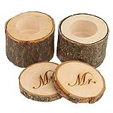 Rosenice Mr Mrs - Caja de anillos de madera para boda, estilo rústico, 2 unidades