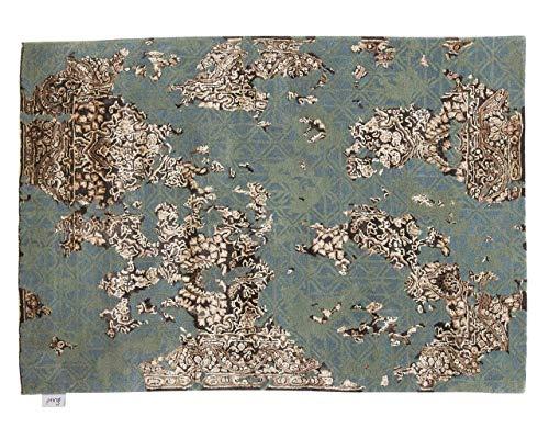 Smiudin - tufté Main: Tapis Vert en Soie d'or, Vraiment Beau et de Haute Qualite, touffete a la Main (120cm x 170cm / 3' 11.2'' x 5' 6.9'')