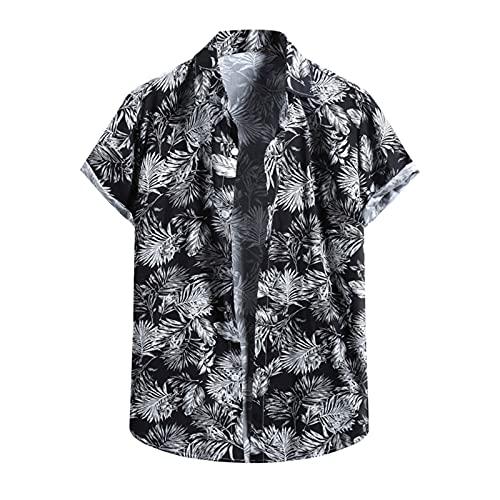 Camisa hawaiana para hombre, de verano, informal, con flores, manga corta, cuello en V, para el tiempo libre H_negro. M