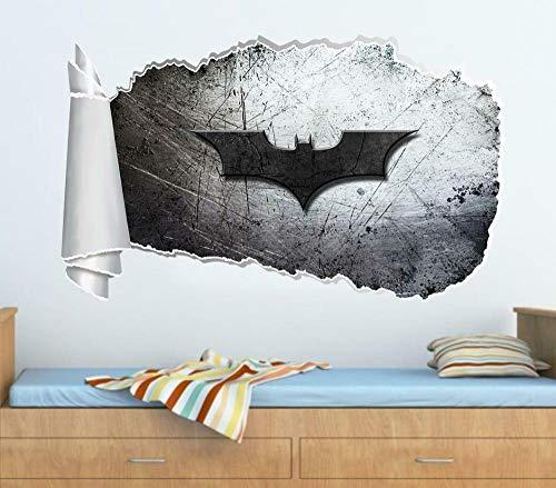 HQSM Pegatinas de pared Bat movie super movie hero 3D Torn Hole Wall Sticker Decal Art Bedroom Mural