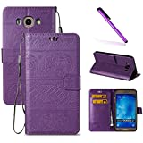 J7 2015 Case,Galaxy J700 Case,LEECOCO Fancy 3D Relief Embossed Wallet Case with Card/Cash Slots [Kickstand] Shockproof PU Leather Flip Case Cover for Samsung Galaxy J7 2015 Elephant Purple