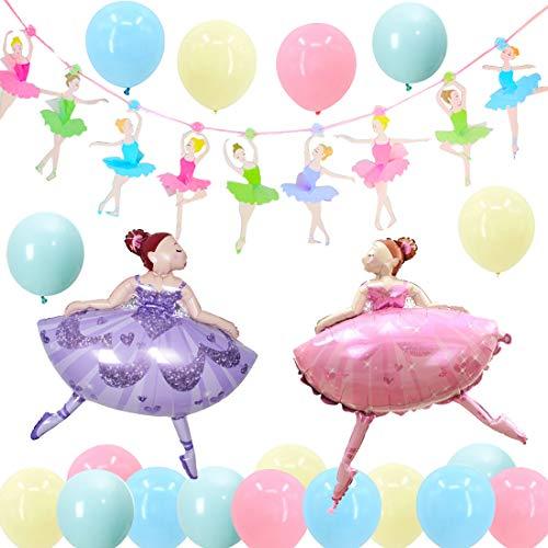Sursurprise Artículos de Fiesta de Bailarina de Ballet, Globos de macarrón de Banner de Bailarina para Fiesta de cumpleaños, Baby Shower, Despedida de Soltera de Boda y Decoraciones de bedoom