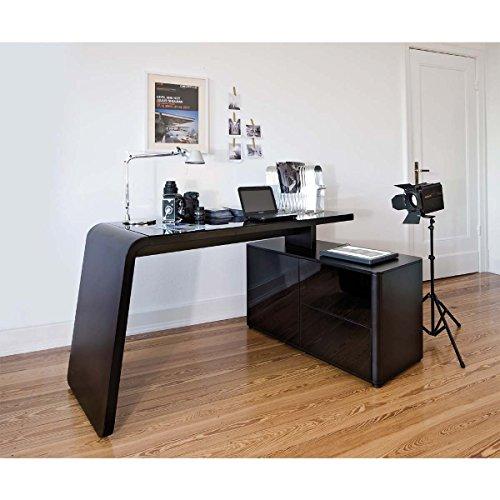 Jahnke Schreibtisch, E1-Spanplatten, lackiert, Metall, ESG Sicherheitsglas, schwarzglas/matt schwarz, 154 x 60 x 76 cm