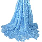 Aisunne African Lace Fabrics 5 Yards Nigerian French Lace Fabric with 3D Flower Fashion Embroidered Beading and Sequin for Wedding Party Dresses (Light Blue)