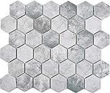 Mosaikfliese Keramik Hexagon Sechseck Zement hellgrau Mosaikwand Küchenfliese Duschwand Duschtasse Fliesenspiegel WC Küchenrückwand