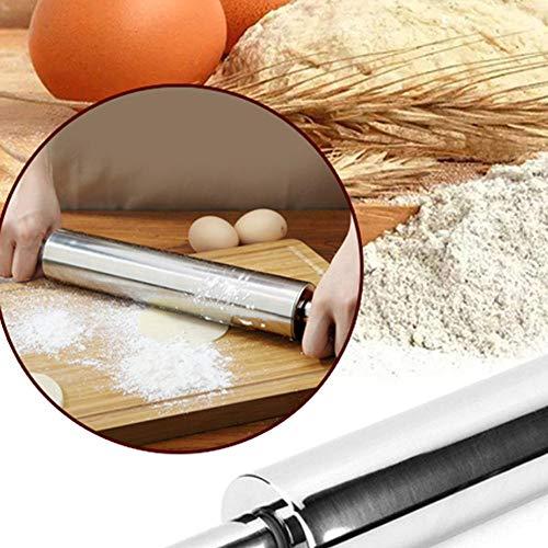 Rouleau à pâtisserie en acier inoxydable Rouleau de pâte à pâtisserie antiadhésif Cuire des nouilles à pizza Tarte aux biscuits Fabrication d'outils de cuisson Accessoires de cuisine, Espagne, 31 cm