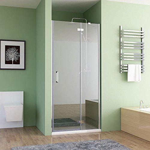 MIQU 80-100 x 195 cm Nischentür Duschabtrennung Falttür Duschwand Dusche Nano Glas (90cm)